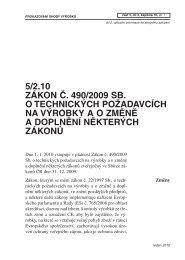 5/2.10 ZÁKON Č. 490/2009 SB. O TECHNICKÝCH POŽADAVCÍCH ...