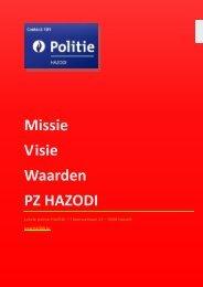 Missie Visie Waarden PZ HAZODI - Lokale Politie