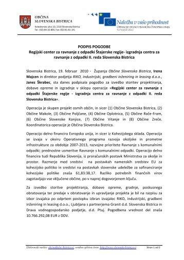 Izjava za javnost ob podpisu pogodbe - Slovenska Bistrica