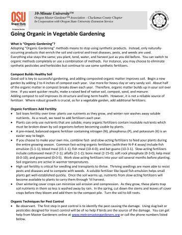 Going Organic in Vegetable Gardening - Metro Master Gardeners
