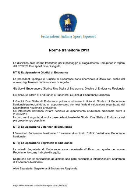 Calendario Fise Lazio.Norme Transitorie 2013 Regolamento Endurance Fise Lazio