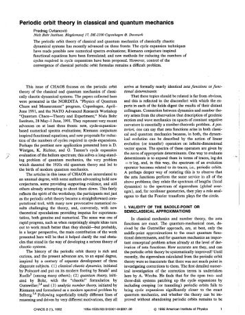 Periodic orbit theory in classical and quantum mechanics