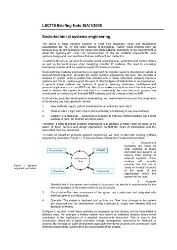 LSCITS Briefing Note StA/1/2008 Socio-technical systems engineering