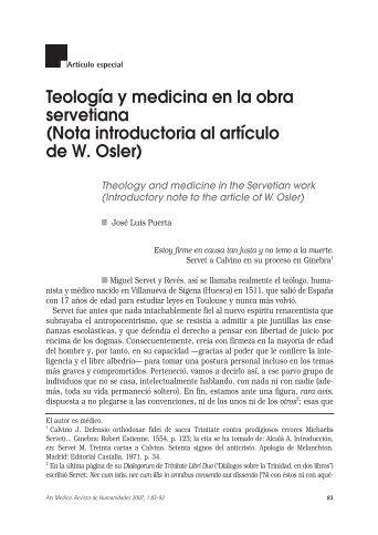 Teología y medicina en la obra servetiana - Instituto de Estudios ...