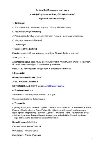 Regulamin Rajdu Rowerowego - Sitkówka-Nowiny, Urząd Gminy