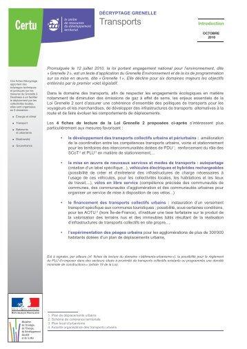 Transports - Schémas Régionaux Climat Air Energie - SRCAE