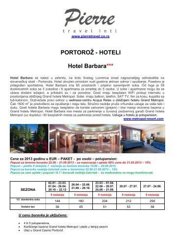 Cenovnik za Å¡tampu, Hotel Barbara - Pierretravel.co.rs