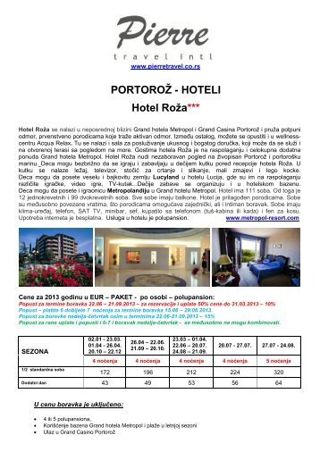 Cenovnik za štampu, Hotel Roža - Pierretravel.co.rs
