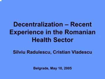 Decentralization In The Health Sector