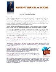 Letter from the President:1 - RegentTravelandTours.com