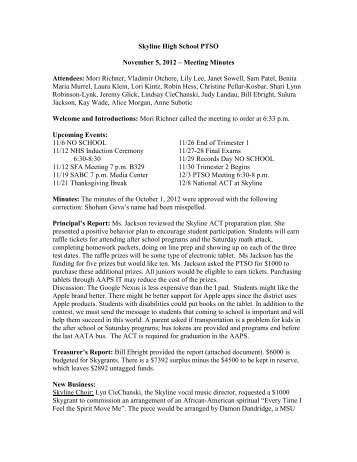Skyline High School PTSO November 5, 2012 – Meeting Minutes ...