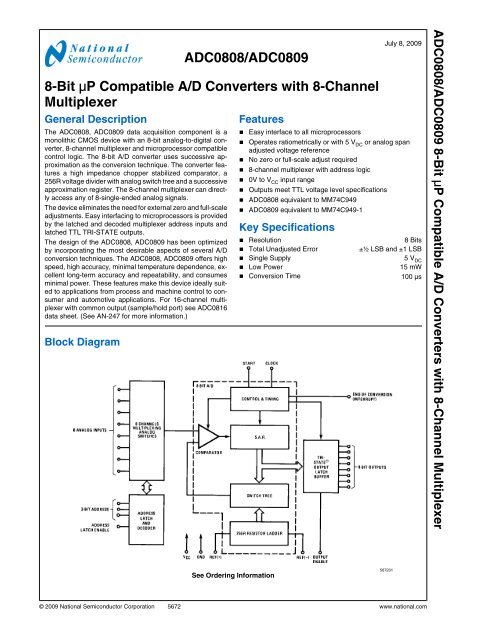 ADC0808/ADC0809 8-Bit μP Compatible A/D Converters with 8 ...Yumpu