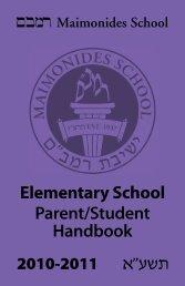 Elementary School Parent/Student Handbook - Maimonides School