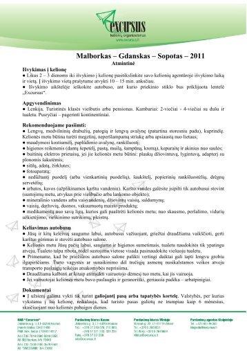 Malborkas – Gdanskas – Sopotas – 2011 - Excursus