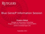Slides from Blue Gene Information Session - Rutgers Discovery ...