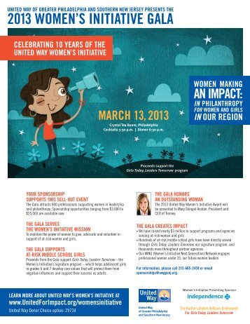 2013 women's initiative gala sponsorship opportunities - United Way
