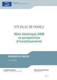 RTE EN ILE DE FRANCE Bilan électrique 2008 et perspectives d ...