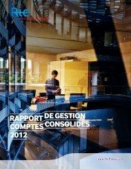RAPPORT DE GESTION COMPTES CONSOLIDÉS 2012 - RTE