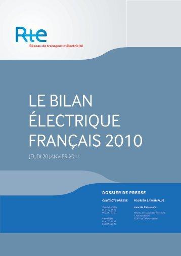 Le bilan électrique Français 2010 par RTE