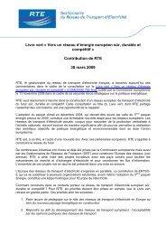 Contribution de RTE au Livre vert