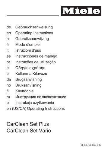 CarClean Set Plus CarClean Set Vario - Miele