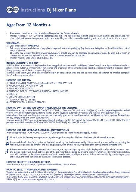 GB USA Instructions Dj