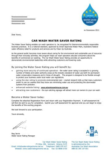 CAR WASH WATER SAVER RATING - Water Rating Scheme