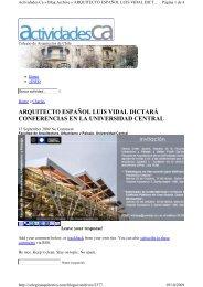 arquitecto español luis vidal dictará conferencias en la universidad ...