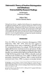 Mendaglio and Tillier 2006. - Kazimierz Dabrowski's Theory of ...