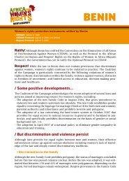 some positive developments… - L'afrique pour les droits des femmes