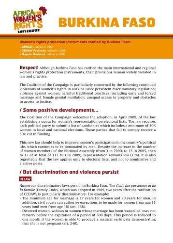BURKINA FASO - L'afrique pour les droits des femmes