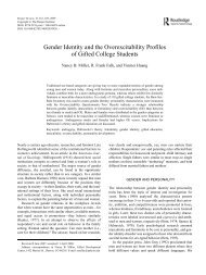 Gender Identity and the Overexcitability Profiles of Gifted College ...