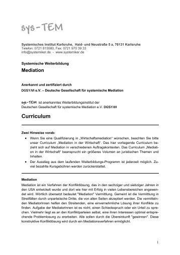 Curriculum - Systemisches Institut Karlsruhe