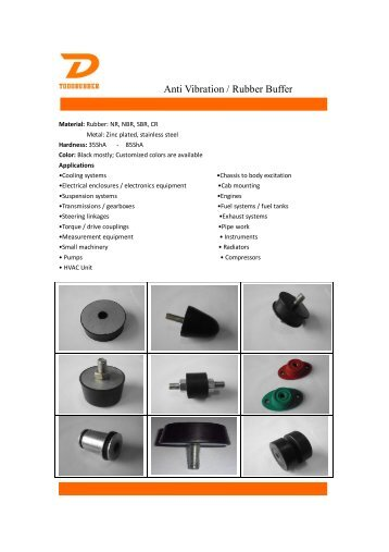 Rubber Molded Catalog from Todo Rubber Co.,LTD