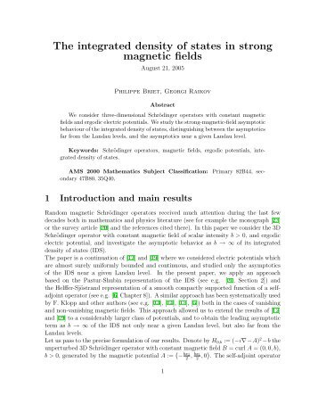 The integrated density of states in strong magnetic fields