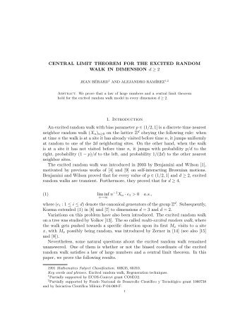 CENTRAL LIMIT THEOREM FOR THE EXCITED RANDOM WALK ...