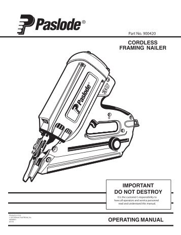 tool schematic and parts important! paslode cordless
