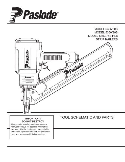 Paslode 404046 Wear Plate Kit For 5325S 5350S /& 16 Nailers