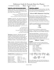Reference Guide & Formula Sheet for Physics - 2006 Version