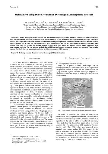 Sterilization using Dielectric Barrier Discharge at Atmospheric ...