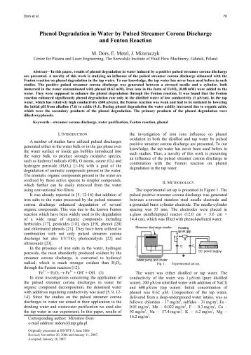 Phenol Degradation in Water by Pulsed Streamer Corona Discharge ...