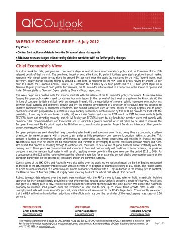 WEEKLY ECONOMIC BRIEF – 6 July 2012 Chief ... - LGsuper