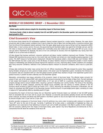 WEEKLY ECONOMIC BRIEF – 2 November 2012 Chief ... - LGsuper