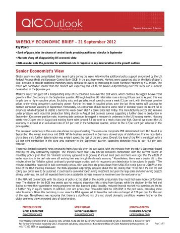 WEEKLY ECONOMIC BRIEF – 21 September 2012 ... - LGsuper