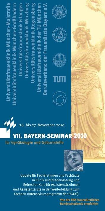 vii. bayern-seminar 2010 - Klinik und Poliklinik für Frauenheilkunde ...