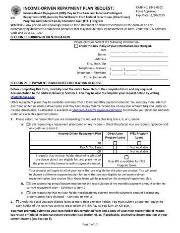 Repayment Plan Selection Form - CornerStone