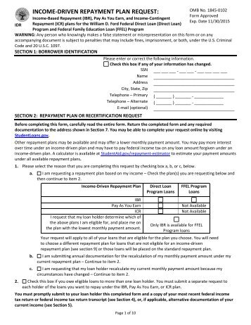 Income Based Repayment form