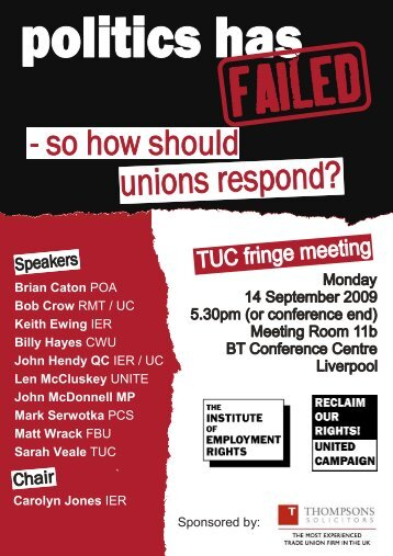 tuc fringe flyer 2009 - politics has failed