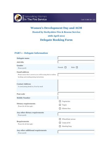 Booking Form (Pdf) - Networking Women In The Fire Service