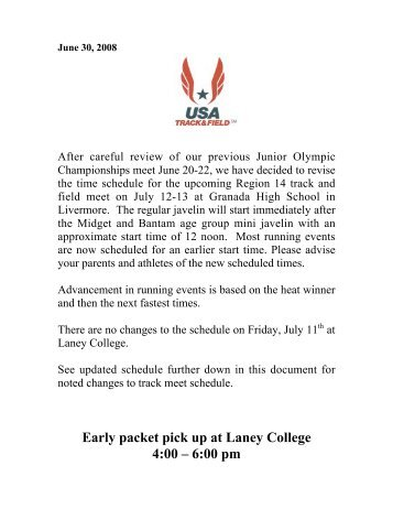 Early packet pick up at Laney College 4:00 – 6:00 pm - USATF Pacific